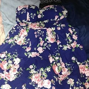 NavyBlue with pink floral print strapless dress.